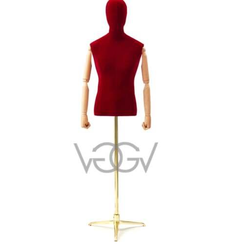 Busto Uomo Vintage Velluto Rosso